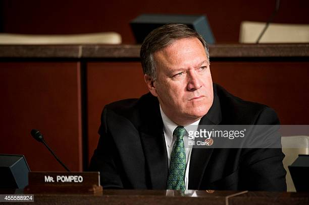 Rep Mike Pompeo RKansas listens during the House Select Committee on the Events Surrounding the 2012 Terrorist Attack in Benghazi hearing on...