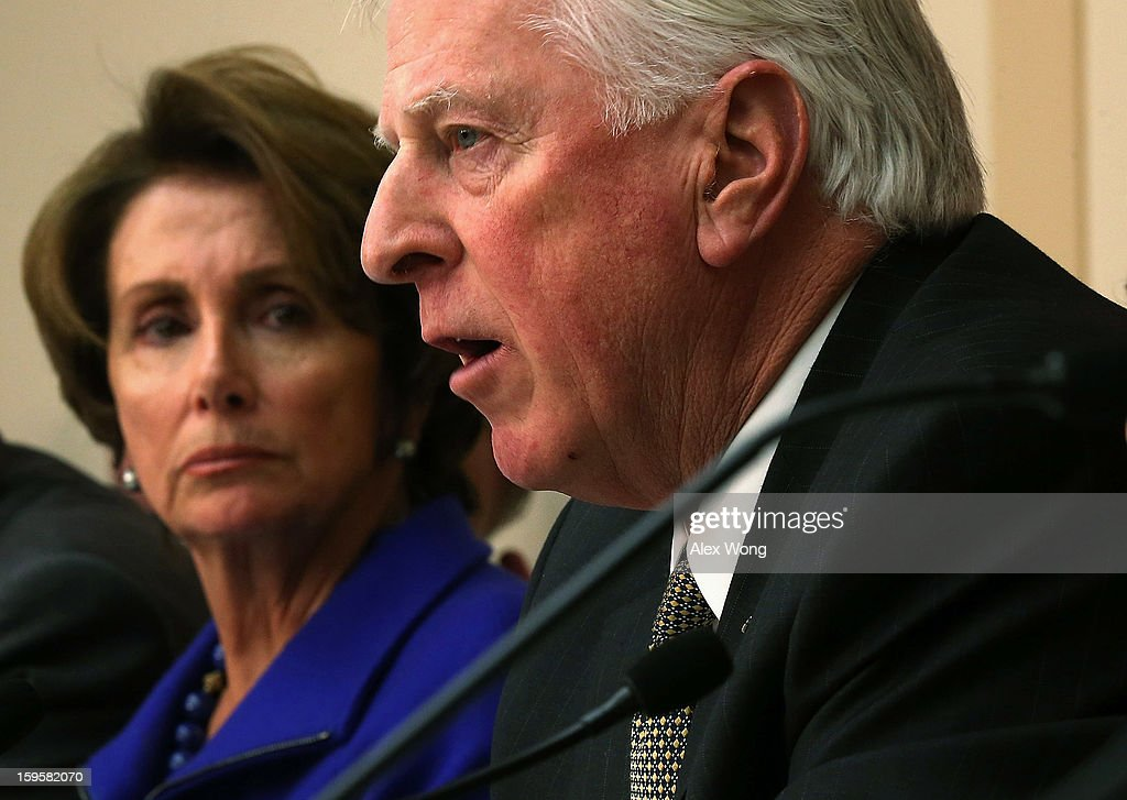 U.S. Rep. Mike Thompson (D-CA) (R), chair of the Task Force on Gun Violence Prevention, speaks as House Minority Leader Rep. Nancy Pelosi (D-CA) (L) listens during a hearing before the House Democratic Steering and Policy Committee January 16, 2013 on Capitol Hill in Washington, DC. The committee held a hearing to focus on 'Gun Violence Prevention: A Call to Action.'