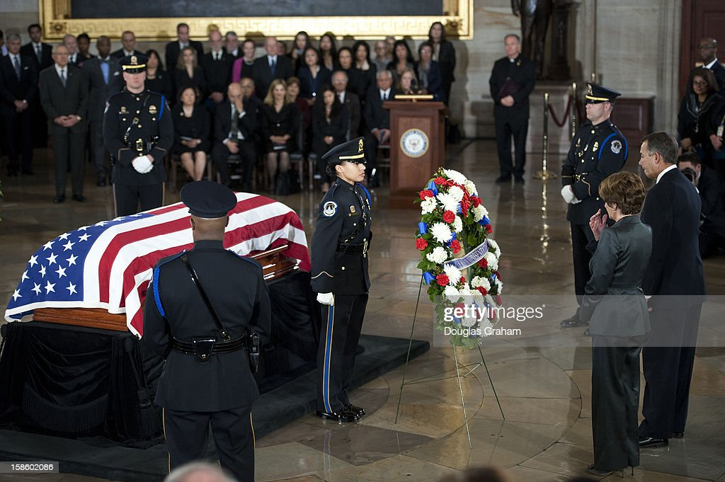 Rep. Nancy Pelosi, D-CA., and Speaker of the House John Boehner, R-OH., stand before the flag is draped casket of U.S. Senator Daniel Inouye (D-HI) in the Rotunda of the U.S. Capitol where he will lie in state December 20, 2012 on Capitol Hill in Washington, DC. The late Senator had died at the age of 88 on Monday at the Walter Reed National Military Medical Center in Bethesda, Maryland where he had been hospitalized since early December. A public funeral service will be held at the Washington National Cathedral on Friday for Senator Inouye, a World War II veteran and the second-longest serving senator in history. His remains will be returned and laid to rest in his home state.