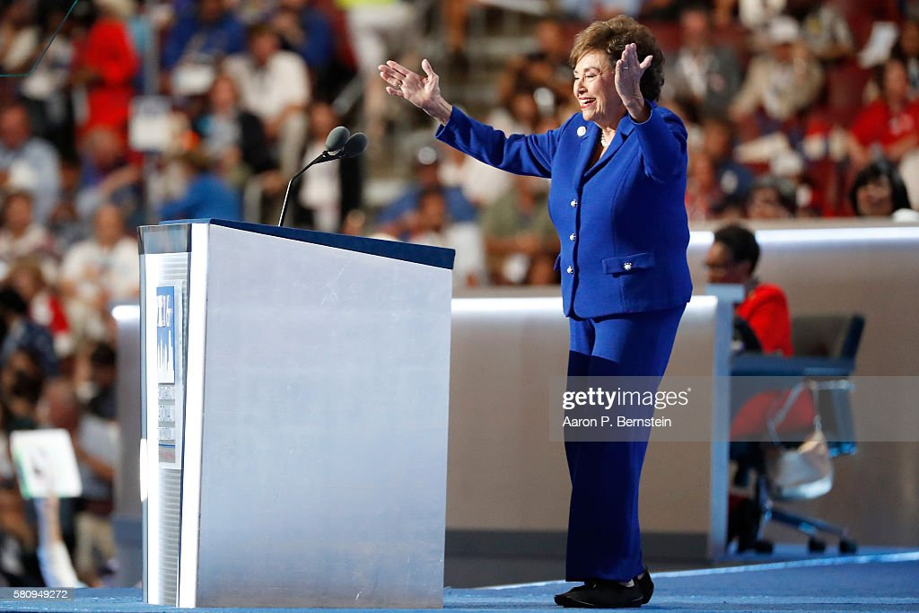 Rep Nita Lowey gestures to the crowd while delivering a speech on the first day of the Democratic National Convention at the Wells Fargo Center July...