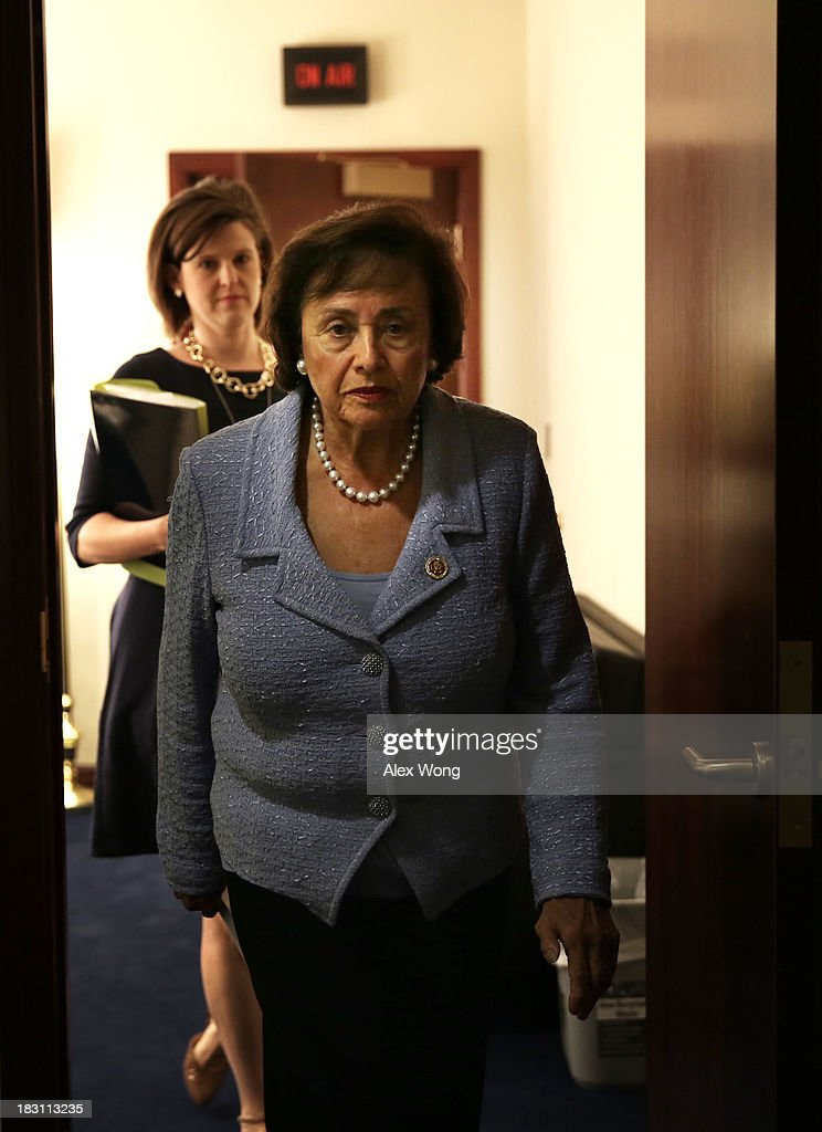 U.S. Rep. <a gi-track='captionPersonalityLinkClicked' href=/galleries/search?phrase=Nita+Lowey&family=editorial&specificpeople=878051 ng-click='$event.stopPropagation()'>Nita Lowey</a> (D-NY) leaves after a news conference October 4, 2013 on Capitol Hill in Washington, DC. The Democrats and the Republicans have been blaming each other for the cause of the U.S. Government shutdown which is on its fourth day.