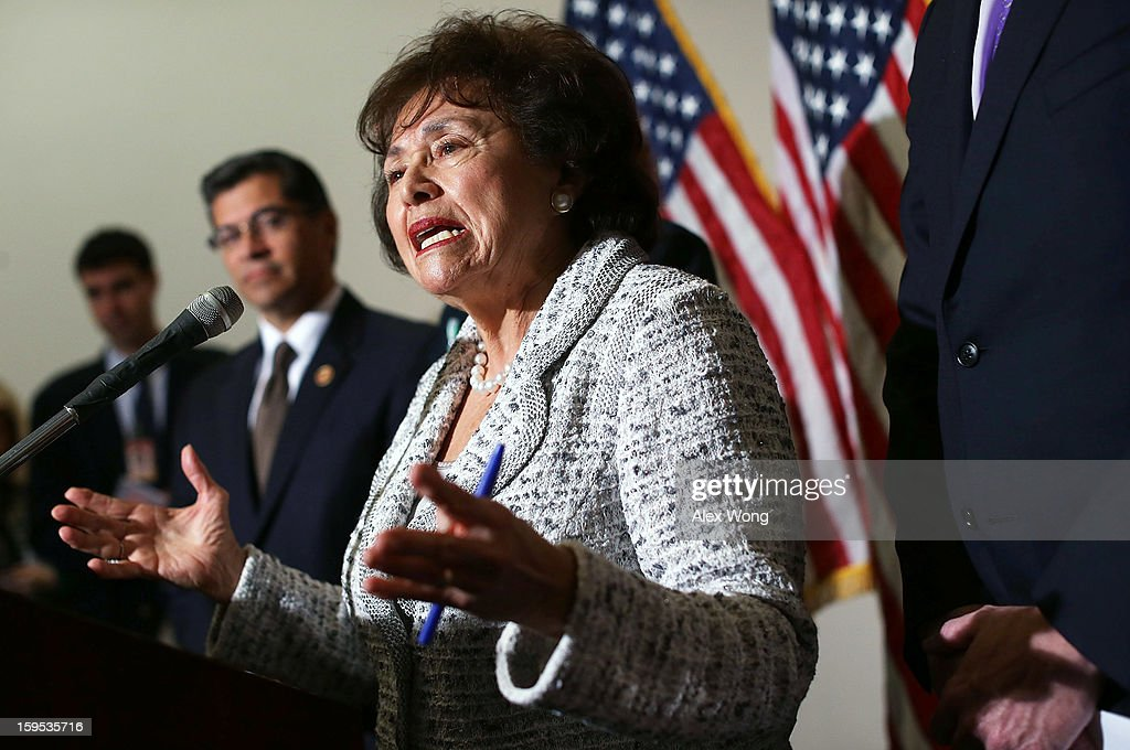 U.S. Rep. <a gi-track='captionPersonalityLinkClicked' href=/galleries/search?phrase=Nita+Lowey&family=editorial&specificpeople=878051 ng-click='$event.stopPropagation()'>Nita Lowey</a> (D-NY) (R) speaks as Chairman of the House Democratic Caucus U.S. Rep. <a gi-track='captionPersonalityLinkClicked' href=/galleries/search?phrase=Xavier+Becerra&family=editorial&specificpeople=2369133 ng-click='$event.stopPropagation()'>Xavier Becerra</a> (D-CA) (L) listens during a press availability after a House Democratic Caucus meeting January 15, 2013 on Capitol Hill in Washington, DC. The Democratic members briefed the media on the Democratic legislative agenda for the 113th Congress, including the Disaster Relief Appropriations for victims of superstorm Sandy and tougher gun control measures.
