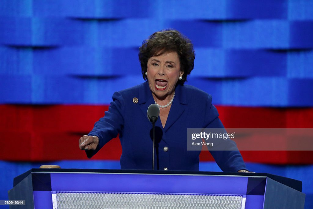 Rep Nita Lowey waves to the crowd while delivering a speech on the first day of the Democratic National Convention at the Wells Fargo Center July 25...