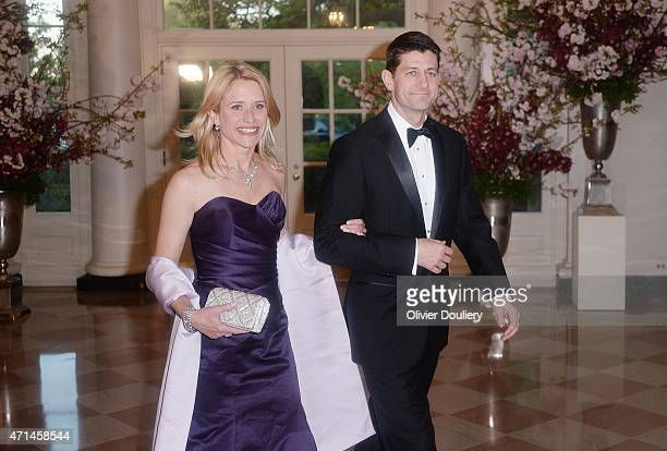 S Rep Paul Ryan and wife Janna Ryan arrive for the state dinner in honor of Japanese Prime Minister Shinzo Abe and wife Akie Abe April 28 2015 at the...