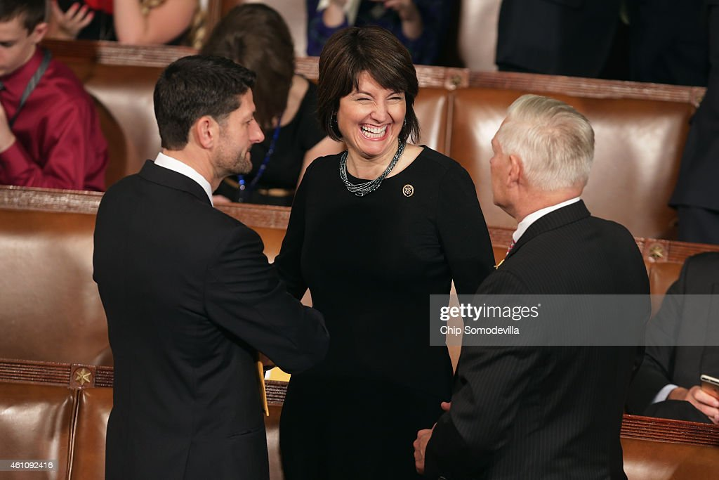 Rep. <a gi-track='captionPersonalityLinkClicked' href=/galleries/search?phrase=Paul+Ryan+-+Politician&family=editorial&specificpeople=7641535 ng-click='$event.stopPropagation()'>Paul Ryan</a> (R-WI), Rep. <a gi-track='captionPersonalityLinkClicked' href=/galleries/search?phrase=Cathy+McMorris+Rodgers&family=editorial&specificpeople=5685653 ng-click='$event.stopPropagation()'>Cathy McMorris Rodgers</a> (R-WA) and Rep. Pete Sessions (R-TX) visit during the opening session of the 114th Congress in the House of Representatives chamber at the U.S. Capitol January 6, 2015 in Washington, DC. Republicans took control of the House and Senate for the first time in eight years.