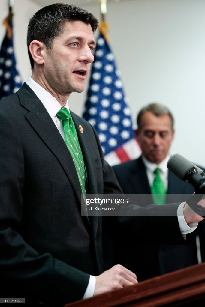 Rep. Paul Ryan (R-WI) speaks about his new budget plan as House Republican leaders address the media after a party conference on March 19, 2013 in Washington, DC. GOP leaders asked that the president work with them to create a balanced budget plan, citing President Clinton's efforts to work with House Republicans on a budget in the 1990s.