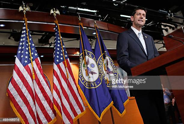 Rep Paul Ryan speaks following a meeting of House Republicans at the US Capitol October 20 2015 in Washington DC Ryan has said he is willing to be...