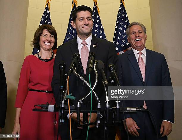 Rep Paul Ryan speaks to the media while flanked by House Majority Leader Kevin McCarthy and Chairman of the House Republican Conference Rep Cathy...