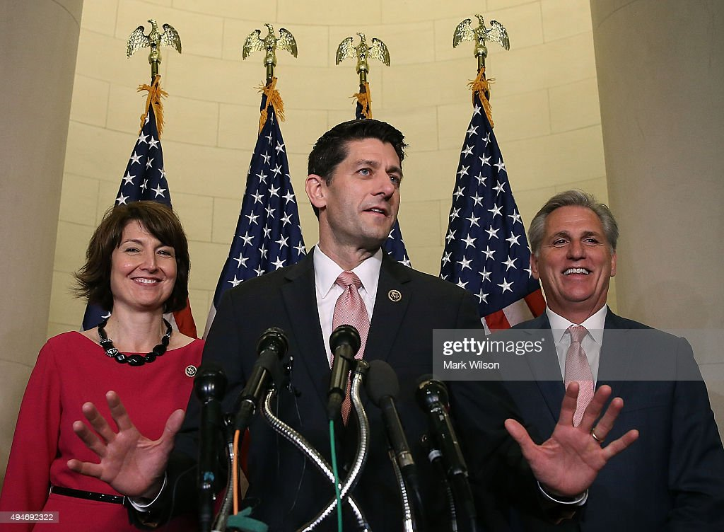 Rep. Paul Ryan (R-WI) (C) speaks to the media while flanked by House Majority Leader Kevin McCarthy (R-CA) and Chairman of the House Republican Conference Rep. Cathy McMorris Rodgers (R-WA) after House Republicans nominated him to be the next Speaker of the House at the US Capitol October 28, 2015 in Washington, DC. Ryan will replace outgoing House Speaker John Boehner.