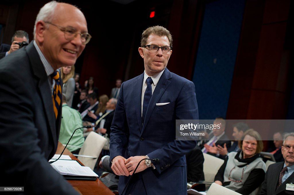 Rep. Paul Tonko, D-N.Y., left, and chef and racehorse owner Bobby Flay, prepare of news conference in the Capitol Visitor Center, April 28, 2016, on the 'Thoroughbred Horseracing Integrity Act,' which would create a uniform anti-doping program to provide oversight for the sport.