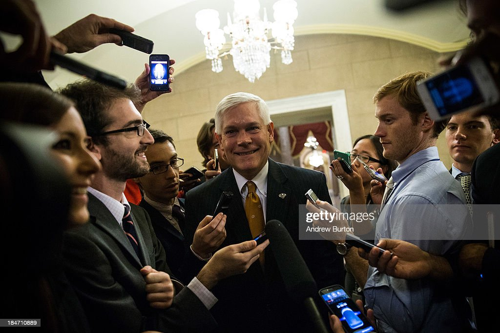 Rep. Pete Sessions (R-TX) heads to Speaker Boehner's office for a meeting amongst Republican House leadership at the Capitol Building on October 15, 2013 in Washington, DC. The government has been shut down for 14 days.
