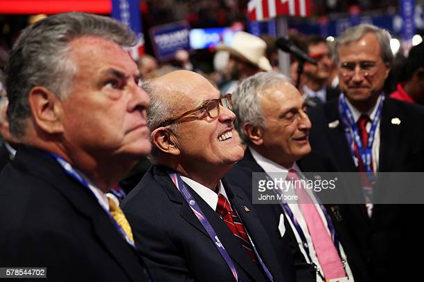 S Rep Peter King former New York City Mayor Rudy Giuliani and Ed Cox NY Republican party chairman attend the evening session on the fourth day of the...