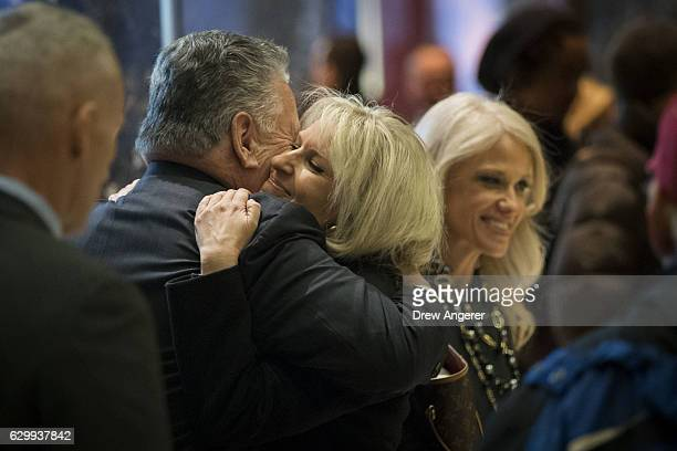 US Rep Peter King hugs Monica Crowley recently chosen as deputy national security adviser in Presidentelect Donald Trump's administration as...