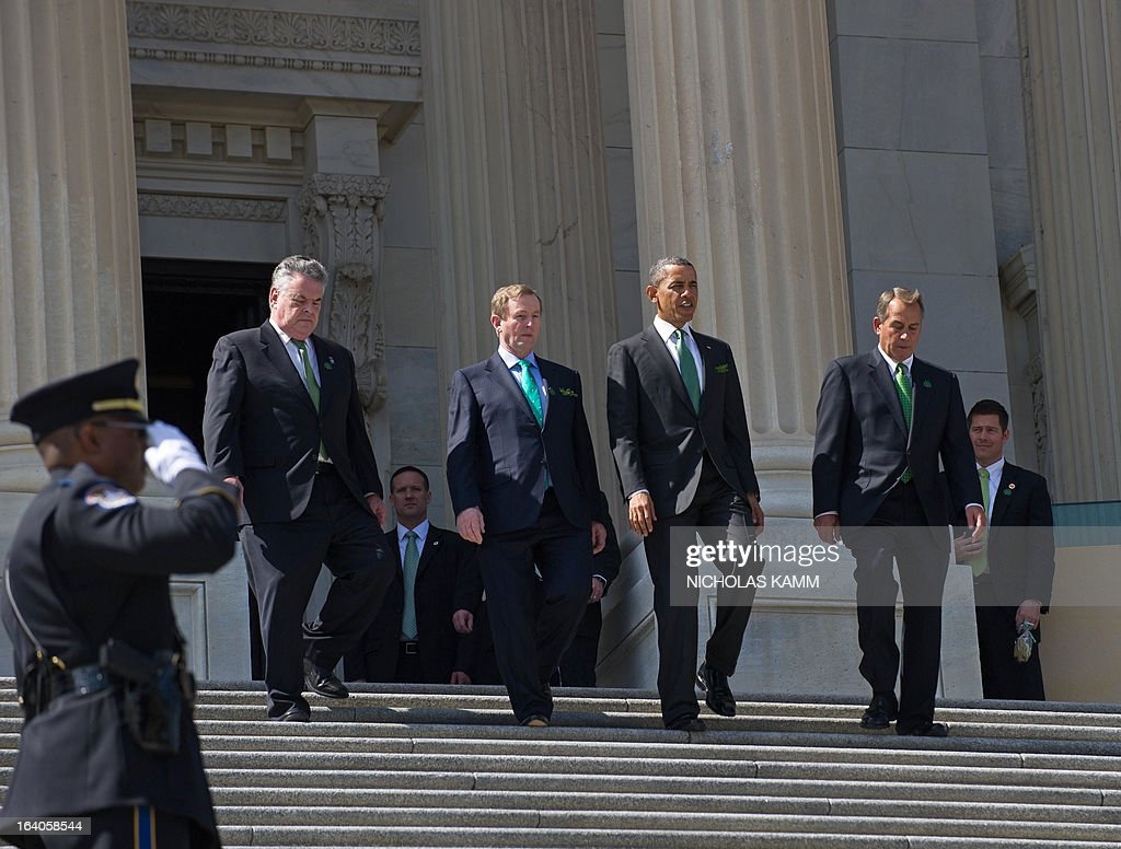 Rep. Peter King of New York, Irish Prime Minister Enda Kenny, US President Barack Obama and House Speaker John Boehner walk out of the US Capitol after the Friends of Ireland luncheon in Washington on March 19, 2013. AFP PHOTO/Nicholas KAMM
