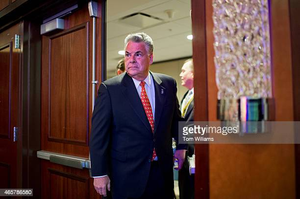 Rep Peter King RNY arrives to speak during the International Association of Fire Fighters Presidential Forum at the Hyatt Regency on Capitol Hill...