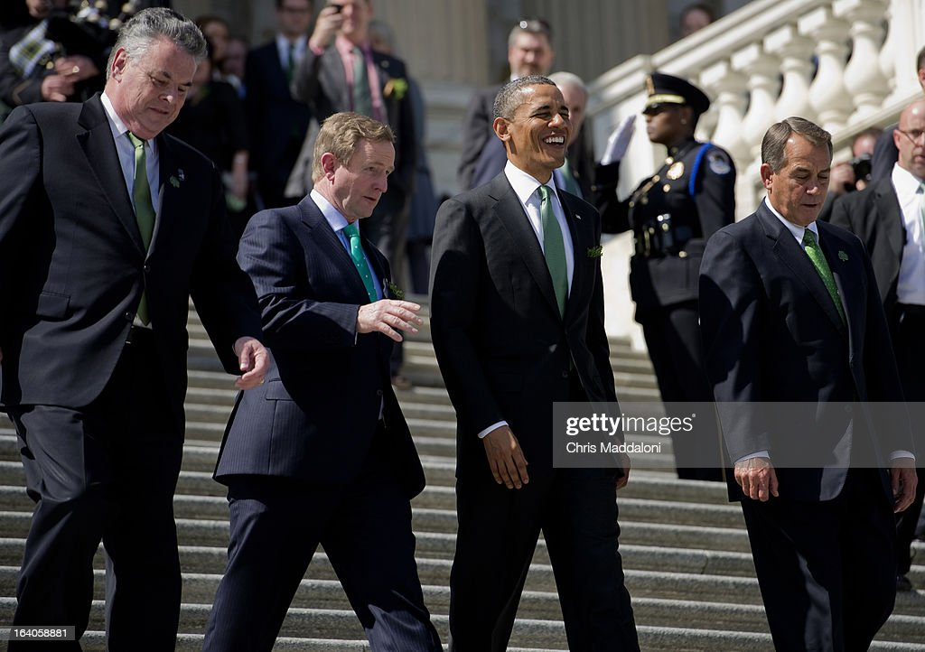 Rep. Peter King, R-N.Y.; Irish Prime Minister Enda Kenny; President Barack Obama; and House Speaker John Boehner, R-Ohio, leave the Friends of Ireland luncheon at U.S. Capitol from the East Front House steps.
