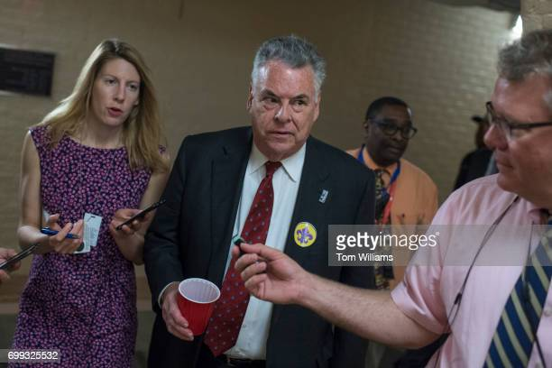 Rep Peter King RNY leaves a meeting of the House Republican Conference in the Capitol on June 21 2017 Members wore fleurdelis stickers to honor House...