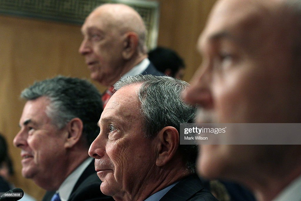 , Rep. Peter King (R-NY), Sen. <a gi-track='captionPersonalityLinkClicked' href=/galleries/search?phrase=Frank+Lautenberg&family=editorial&specificpeople=240397 ng-click='$event.stopPropagation()'>Frank Lautenberg</a> (D-NJ), New York City Mayor <a gi-track='captionPersonalityLinkClicked' href=/galleries/search?phrase=Michael+Bloomberg&family=editorial&specificpeople=171685 ng-click='$event.stopPropagation()'>Michael Bloomberg</a> and New York City, Police Commissioner <a gi-track='captionPersonalityLinkClicked' href=/galleries/search?phrase=Raymond+Kelly&family=editorial&specificpeople=551131 ng-click='$event.stopPropagation()'>Raymond Kelly</a>, participate in Senate Homeland Security and Governmental Affairs Committee hearing on Capitol Hill, on May 5, 2010 in Washington DC. The committee is hearing testimony on recent attacks in the U.S. including the incident in Times Square where a car bomb failed to detonate.