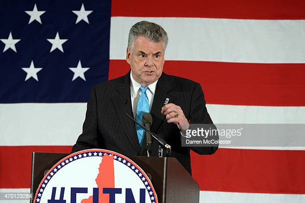 S Rep Peter King speaks at the First in the Nation Republican Leadership Summit April 17 2015 in Nashua New Hampshire The Summit brought together...