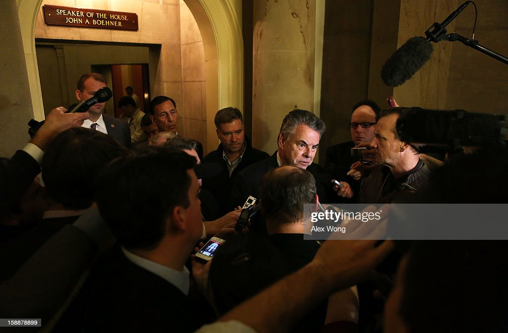U.S. Rep. Peter King (R-NY) speaks to the media after a meeting regarding the Sandy aid bill with Speaker of the House Rep. John Boehner (R-OH) January 2, 2013 on Capitol Hill in Washington, DC. The House Republican leadership was criticized for not acting on the Senate passed legislation for Hurricane Sandy disaster aid.