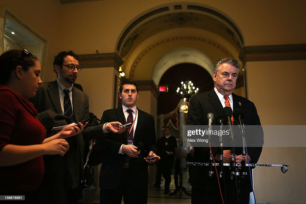 U.S. Rep. Peter King (R-NY) (R) speaks to the media after a meeting regarding the Sandy aid bill with Speaker of the House Rep. John Boehner (R-OH) January 2, 2013 on Capitol Hill in Washington, DC. The House Republican leadership was criticized for not acting on the Senate passed legislation for Hurricane Sandy disaster aid.