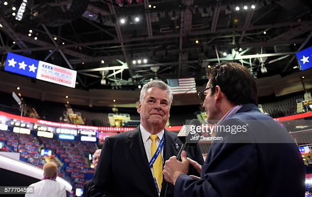 S Rep Peter King speaks to the press prior to the start of the second day of the Republican National Convention on July 19 2016 at the Quicken Loans...
