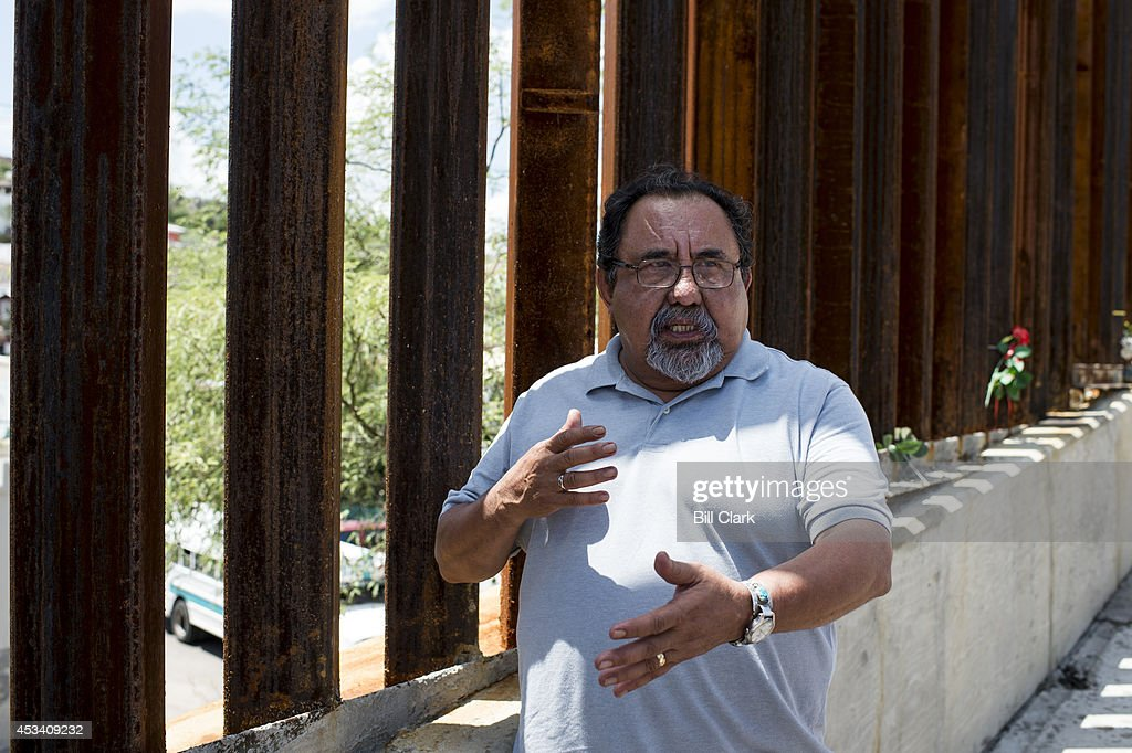 Rep. Raul Grijalva, D-Ariz., talks about the case of Jose Antonio Elena Rodriguez, a Mexican teenager who was shot by U.S. Border Patrol agents in 2012, at the spot of the shooting in Nogales, Ariz., on Friday, Aug. 8, 2014.