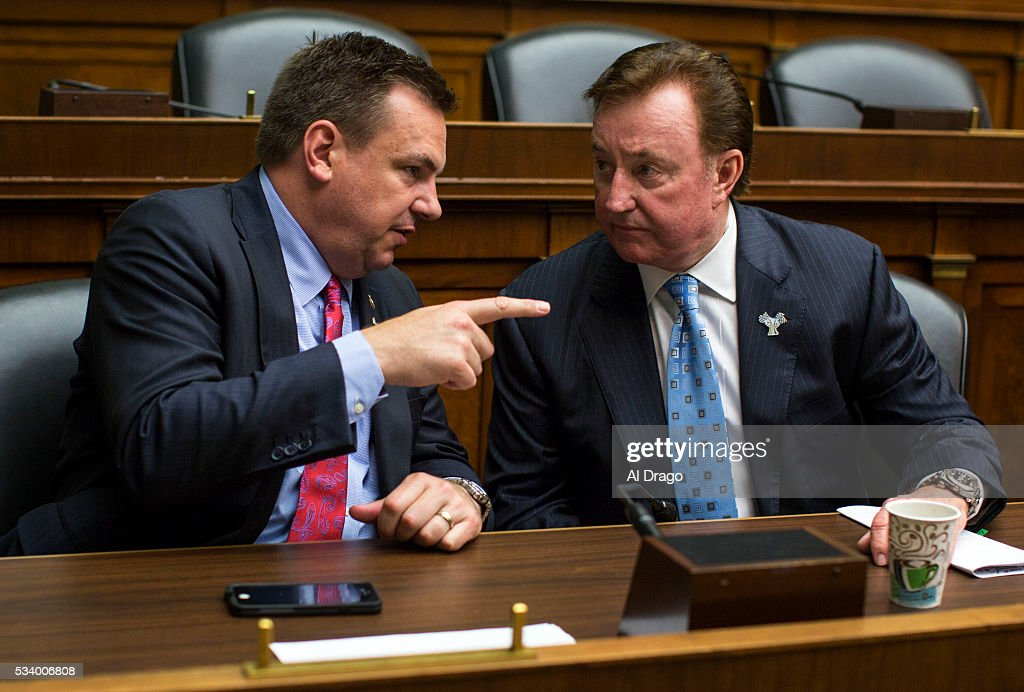 STATES - MAY 24 - Rep. Richard Hudson, R-N.C., speaks with former NASCAR racer Richard Childress speaks at a Congressional Pediatric Trauma Briefing, in the Rayburn House Office Building in Washington, Tuesday, May 24, 2016.