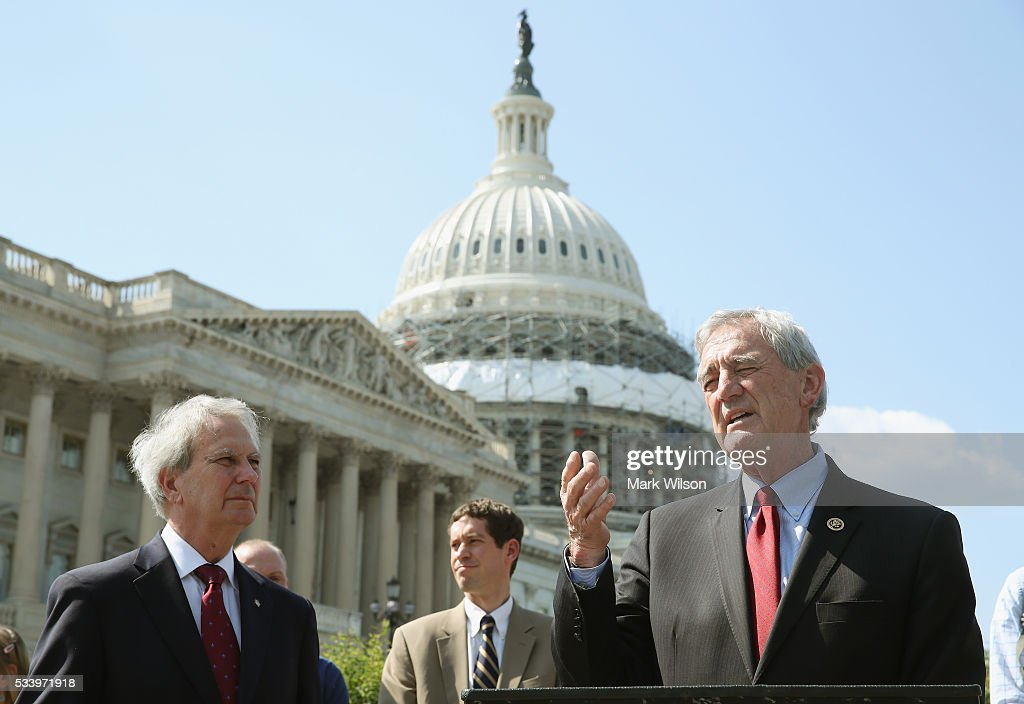 Rep. Rick Nolan, (D-MN) (R), and Rep. Walter Jones, (R-NC), speak to the media about a constitutional amendment to overturn the Supreme Court Citizens United ruling, on Capitol Hill, May 24, 2016 in Washington, DC.