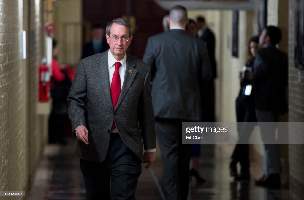 Rep. Robert Goodlatte, R-Va., leaves the House Republican Conference meeting in the basement of the Capitol on Tuesday, March 5, 2013.