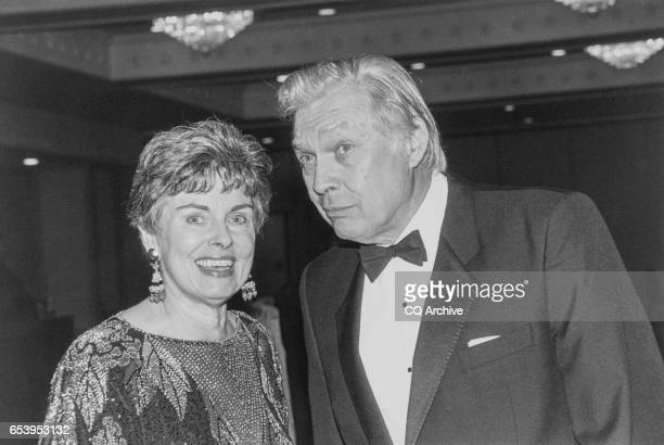 Rep Robert Kastenmeier DWis with his wife at the Capital Hilton Hotel for Peace Links Peace on Earth Gala on Dec 3 1991