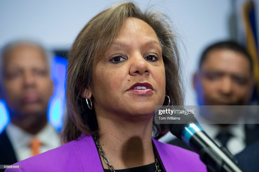 Rep. Robin Kelly, D-Ill., conducts a news conference at the DNC where members of the Congressional Black Caucus PAC endorsed Hillary Clinton for president, February 11, 2016.
