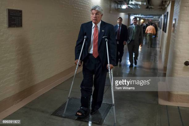 Rep Roger Williams RTexas leaves a meeting of the House Republican Conference in the Capitol on June 21 2017 Members wore fleurdelis stickers to...