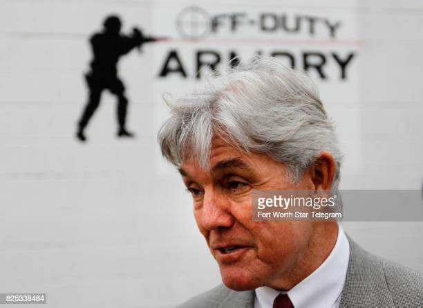 Rep Roger Williams US Representative from Texas' 25th congressional district speaks at the Off Duty Armory a gun store and shooting range in Burleson...