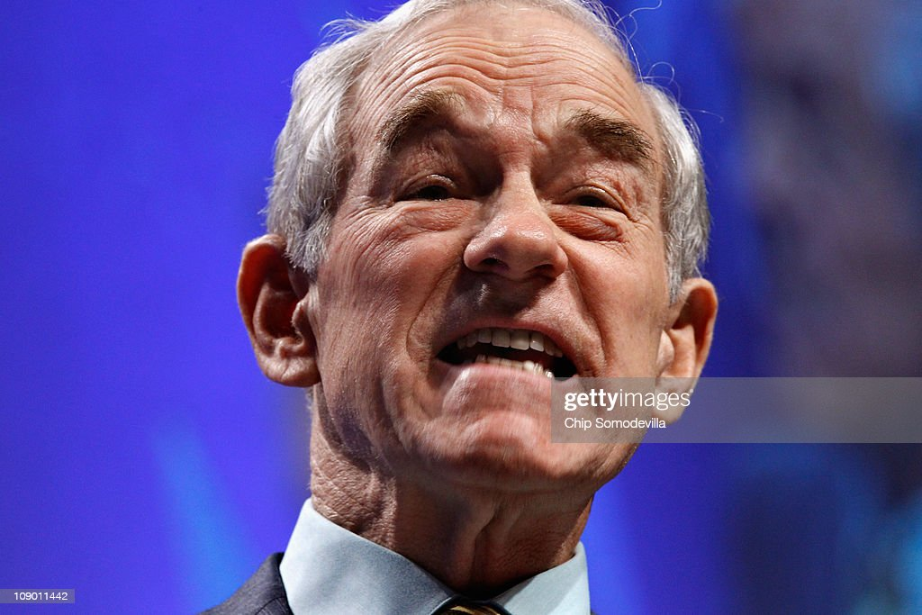 Rep. <a gi-track='captionPersonalityLinkClicked' href=/galleries/search?phrase=Ron+Paul&family=editorial&specificpeople=2300665 ng-click='$event.stopPropagation()'>Ron Paul</a> (R-TX) addresses the Conservative Political Action Conference at the Marriott Wardman Park February 11, 2011 in Washington, DC. A dozen potential Republican presidental hopefuls are set to address CPAC, the biggest gathering of conservative activists in the country.