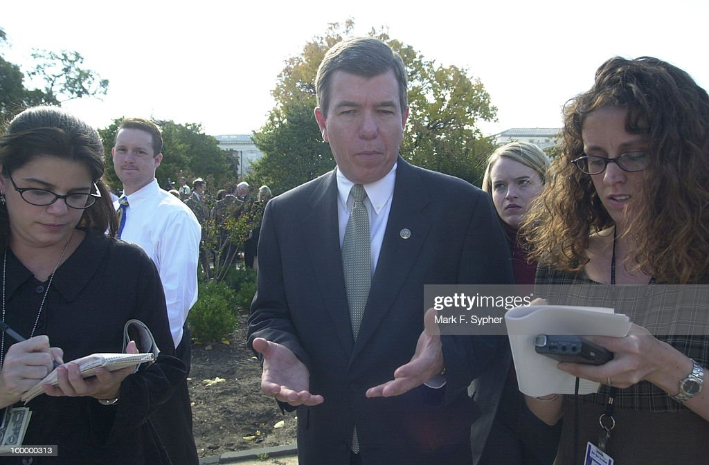 Rep. Roy D. Blunt (R-MO), talks to reporters after addressing the press at the House Triangle on Thursday.