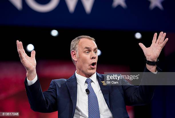 Rep Ryan Zinke RMont speaks at the American Conservative Union's CPAC conference at National Harbor in Oxon Hill Md on Thursday March 3 2016