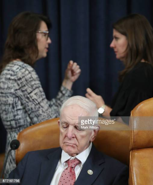 Rep Sam Johnson attends a House Ways and Means Committee markup of the Republicans tax reform plan titled the Tax Cuts and Jobs Act on Capitol Hill...