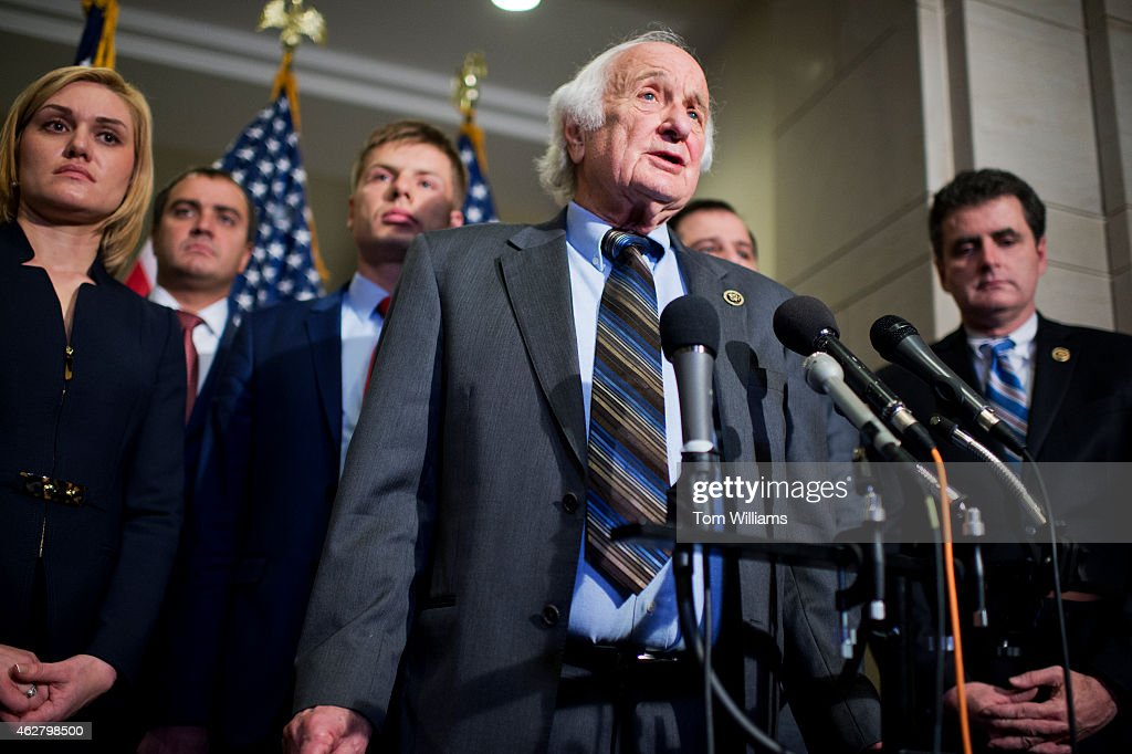 Rep. Sander Levin, D-Mich., conducts a news conference in the Capitol Visitor Center with members of the Ukrainian Parliament on the possibility of arming the Ukrainians in their conflict with Russian-backed rebels, February 5, 2015.