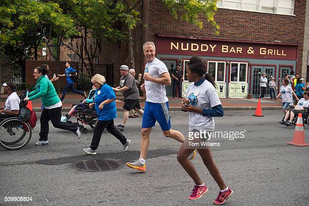 Rep Sean Patrick Maloney DNY runs with his daughter Daley during the 'Think Differently Dash' that benefits people with disabilities in Poughkeepsie...