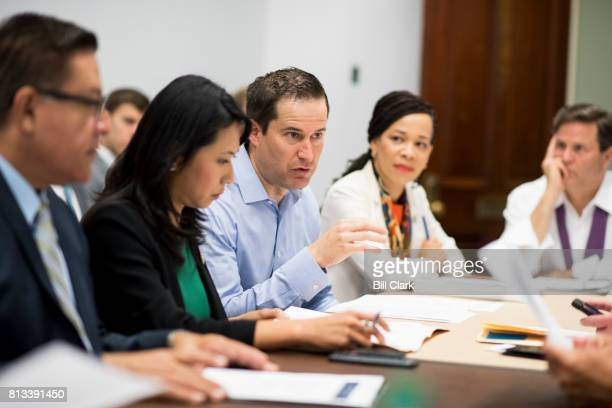 Rep Seth Moulton DMass flanked from left by Rep Salad Carvajal DCalif Rep Stephanie Murphy DFla Rep Lisa Blunt Rochester DDel and Rep Donald Norcross...