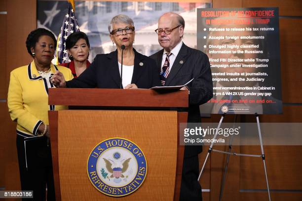 Rep Sheila Jackson Lee Rep Judy Chu Rep Bonnie Watson Coleman and Rep Steve Cohen hold a news conference to talk about their introduction of 'a...