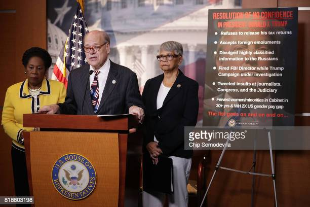 Rep Sheila Jackson Lee Rep Steve Cohen and Rep Bonnie Watson Coleman hold a news conference to talk about their introduction of 'a resolution of no...
