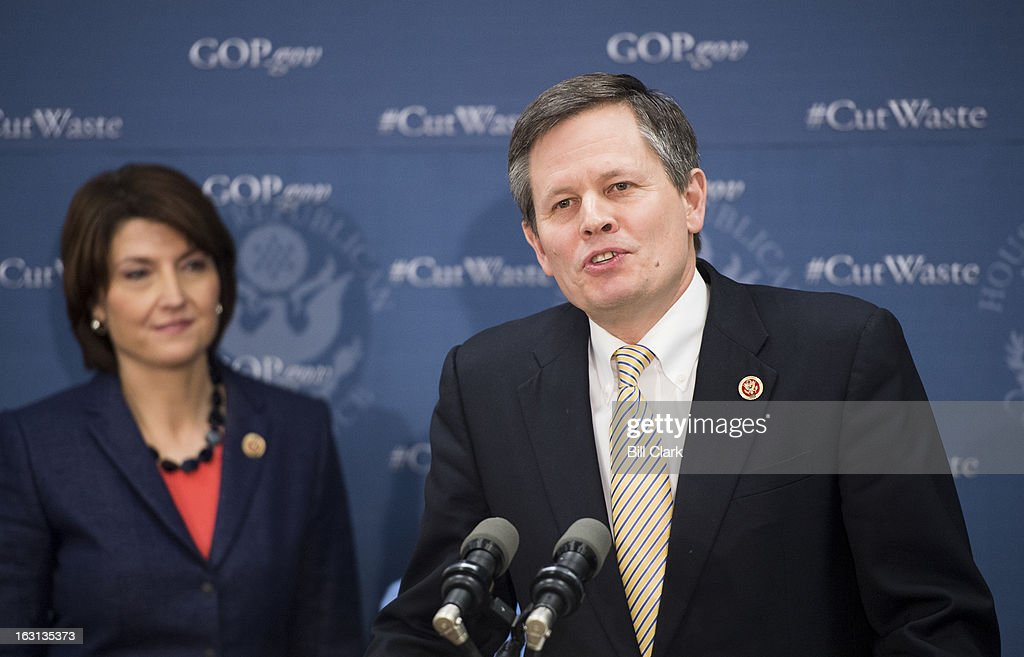 Rep. Steve Daines, R-Mont., speaks during the media availability following the House Republican Conference meeting in the Capitol on Tuesday, March 5, 2013. Conference Chairman Rep. Cathy McMorris Rodgers, R-Wash., is in the background.