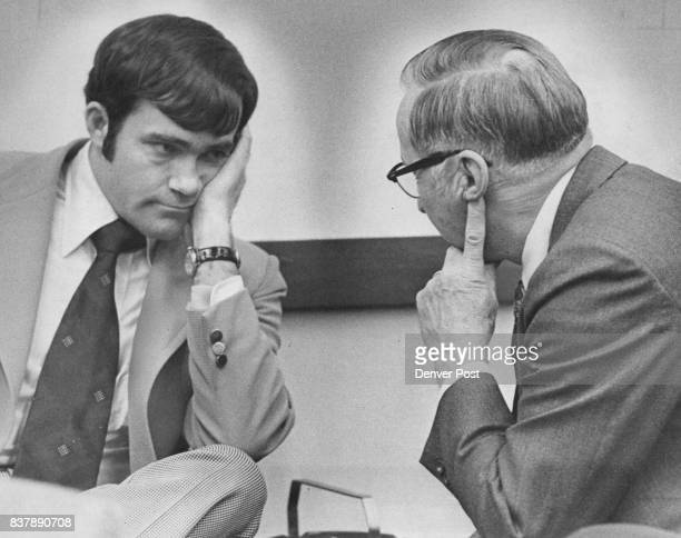 Rep Steve Durham Left and Ray Kimball Confer Before Finance Committee Meeting Durham defended Kimball who had sent a 'confidential letter' opposing...