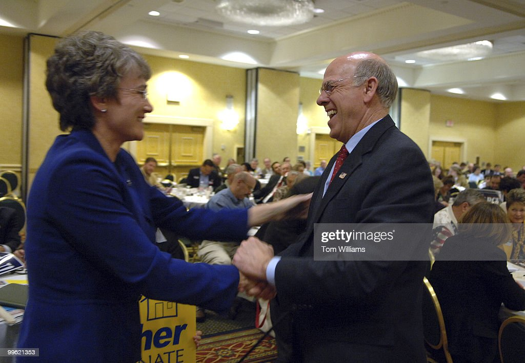 Rep Steve Pearce RNM greets Rep Heather Wilson RNM after Pearce won the delegates' vote for republican Senate nomination at the state republican...