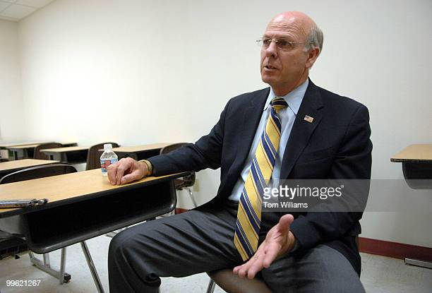 Rep Steve Pearce RNM is interviewed in a classroom at Luna Community College in Santa Rosa NM