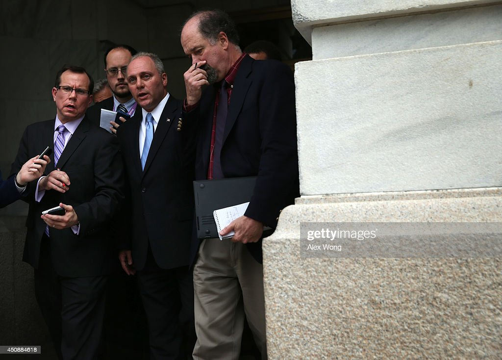 U.S. Rep. <a gi-track='captionPersonalityLinkClicked' href=/galleries/search?phrase=Steve+Scalise&family=editorial&specificpeople=5482687 ng-click='$event.stopPropagation()'>Steve Scalise</a> (R-LA) (3rd L) speaks to members of the media after a leadership election at a House Republican Conference meeting June 19, 2014 on Capitol Hill in Washington, DC. House GOPs have picked Majority Whip Rep. Kevin McCarthy (R-CA) as the new House majority leader and Scalise as the new majority whip.