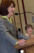 Rep Susan Davis DCa and Rep Heather Wilson RNM at a forum 'Trailblazers Women Veterans Share Their Stories' sponsored by the Women's Policy Inc...