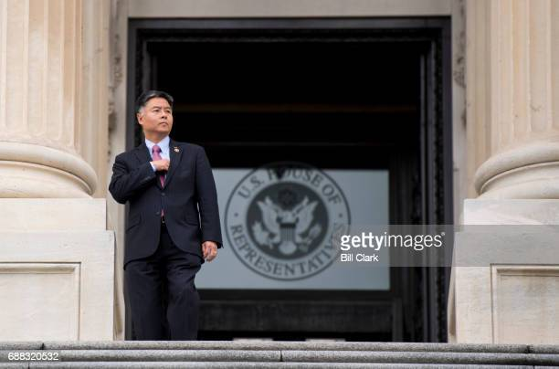 Rep Ted Lieu DCalif walks down the House steps as he leaves the Capitol for the Memorial Day recess following the final votes of the week on Thursday...